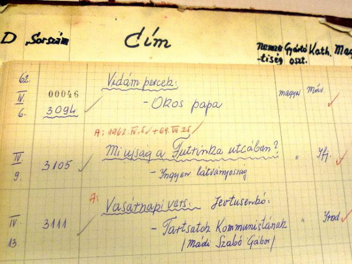 Nyilvántartási napló 1962-ből